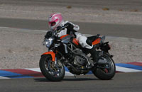 Diane from the Big Apple Motorcycle School on the track