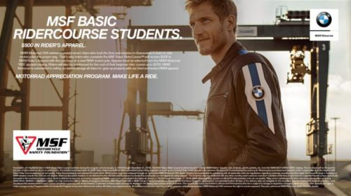 BMW promotion for MSF Basic RiderCourse students